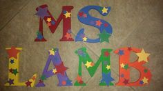 Custom Wooden Letters, hand-painted and designed by Kid Murals by Dana Railey. Letters are $10-$12 per letter plus S&H. They are great as #babyshower gifts, #nurserydécor, #kidsrooms, #woodendécor, teacher gifts, #hangingletters, and more!  Any theme, specific characters, pattern and color can be created!  Please contact Dana on FB at http://www.facebook.com/kidmuralsbydanarailey or www.scottsdalemurals.com  #Teachergift, #hangingletters, #teacherappreciation, #stars, #décor,