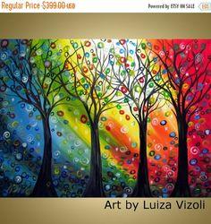 Large Landscape painting original abstract modern whimsical trees very large XXL painting single canvas by Luiza Vizoli by LUIZAVIZOLI on Etsy https://www.etsy.com/listing/75871286/large-landscape-painting-original
