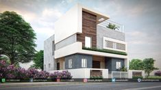 Panash Design Studio - Take a look of our best design list of Commercial Elevation Projects. 2 Storey House Design, Duplex House Design, House Front Design, Classic House Exterior, Modern Exterior House Designs, Exterior Design, Home Door Design, House Design Photos, Village House Design