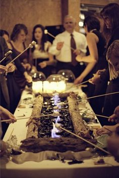 Smores' station! Love this idea - just make sure your venue permits it.