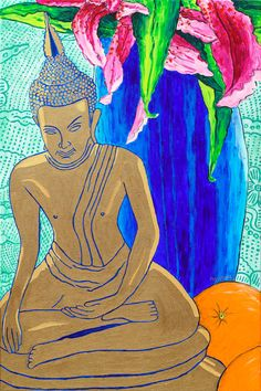 Matted Still Life with Buddha     10 x 15 Giclee Fine Art Print  Matted in Blue for 16 x 20 Frame        Archival Paper and ink
