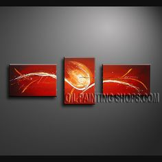 Stunning Modern Abstract Painting Oil Painting On Canvas Panels Gallery Stretched Abstract. This 3 panels canvas wall art is hand painted by Bo Yi Art Studio, instock - $121. To see more, visit OilPaintingShops.com
