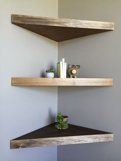 10 Attentive ideas: Floating Shelf Bedside Night Stands how to decorate floating shelves how to build.Floating Shelf Design Spaces floating shelf under tv how to build.Floating Shelf Under Tv How To Build. Corner Shelf Design, Diy Corner Shelf, Wood Corner Shelves, Bathroom Corner Shelf, Floating Corner Shelves, Floating Shelves Bathroom, Glass Shelves, Corner Shelves Bedroom, Small Shelves