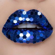 Blue Sequin Lips By Vladamua
