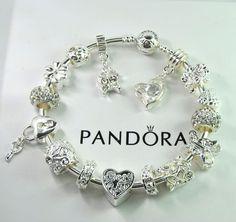 Authentic Pandora Silver bangle charm bracelet with European Charm mom butterfly #Pandoralobsterbangleclaspclaw #European