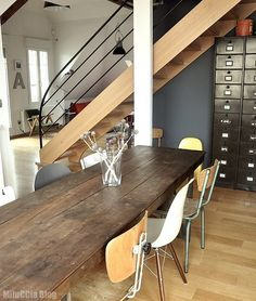 Wood Table, Blue Walls