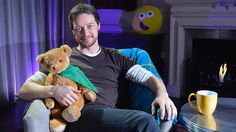 Cbeebies Bedtime Stories with James McAvoy. He's so cute here with the teddy bear.
