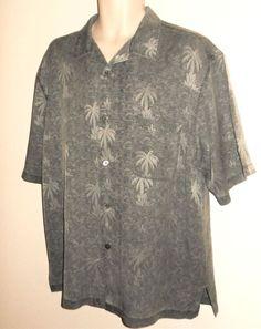 01011c76 Nat Nast Mens Camp Shirt 100% Silk L Gray Palm Trees Large Short Sleeve  Pocket