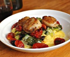 Savory Sight: Seared Scallops With Roasted Tomatoes and Polenta