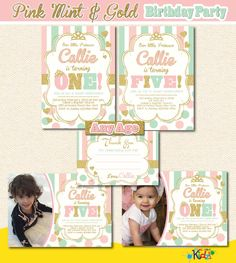 Gold and Pink Birthday Invitation, Pink Mint and Gold Party Invitation,Printable Pink Mint Gold Birthday Invite,First Birthday, 1st Birthday by ItsAllAboutKidz on Etsy https://www.etsy.com/listing/260395003/gold-and-pink-birthday-invitation-pink