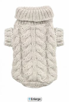 Sand Angora Cable Knit Dog Sweater by Hip Doggie