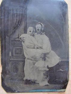 Unusual Antique Victorian Era Tintype Photo of Masked Theater Actors