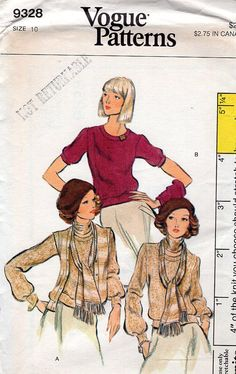FREE US SHIP Vogue Sewing Pattern Vintage Retro 1970s 70s 9328 Sweater Knit Cardigan Pullover Uncut Size 10 Bust 32 1/2 by LanetzLivingPatterns on Etsy