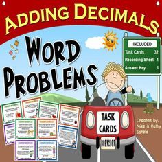 This resource includes thirty-two (32) task cards designed to help students strengthen their skills on adding decimal numbers. It contains a variety of word problems that allow students to not only practice the computational aspect of adding decimals, but also appreciate its importance when applied in real world scenarios. $