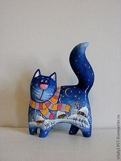 Котенок Зимняя прогулка, скульптура дерево авторская роспись - котенок