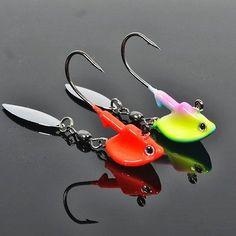 Aparejos de pesca anzuelos crankbaits Nuevo Luminoso Jig Head Lentejuelas Barb herramientas paquetes