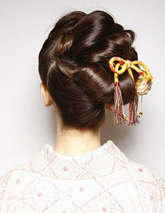 Formal updo Japanese style with elements of old and new back view