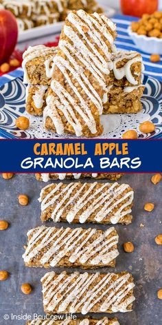 Caramel Apple Granola Bars - apples and caramel bits give these homemade granola bars a taste of fall. Make these chewy oat bars for breakfast or as an after school snack.
