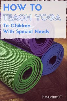 Great ideas for teaching yoga to children with special needs! 5 tips for teaching yoga to kids or teaching a whole class of kids. Perfect for increasing core strength, gross motor coordination, etc. Teaching Yoga To Kids, Yoga For Kids, Teaching Tips, Preschool Yoga, Yoga Sequences, Yoga Poses, Childrens Yoga, Mindfulness For Kids, Mindfulness Activities