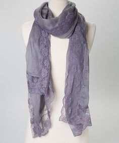 Another great find on #zulily! Gray Floral Lace Scarf by The Accessory Collective #zulilyfinds