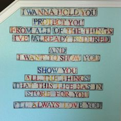 "I had this10 year old, 24""x36"" magazine collage. Painted these Staind lyrics over it using chipboard letters and latex paint. Cut up sections. Nailed them up. :)"