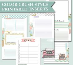 6 subjects websters pages color crush inserts style to personalize your planner.  Size: cm 17,1 x 9,5  $8