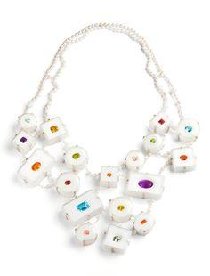 Annette Dam. Necklace: 84ct, 2011. Silver, pearls, corals, precious gemstones, plastic boxes. Photo by: Dorte Krogh.