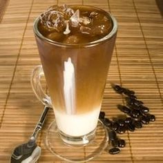 Strong coffee with sweetened condensed milk and chilled on ice makes an unbeatable Southeast Asian treat. Even those who only take their coffee black will like this. Serve it on hot summer days or as an evening treat. We learned this in Vietnam, and now drink almost all our espresso this way.