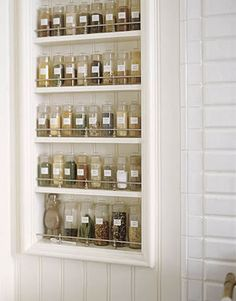 spice rack. All the same bottles. And I would keep the spices in alphabetical order!