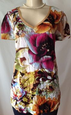 Vera Wang XL Floral Print Crinkle Look Tunic Length Short Sleeve V Neck GUC | eBay