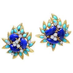 1stdibs - Fabulous Lapis, Turquoise and Diamond Ear Clips explore items from 1,700  global dealers at 1stdibs.com