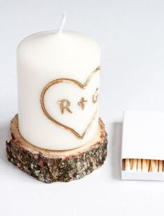 DIY Initial Carved Candle #howtodecorateunitycandles