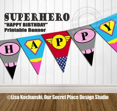 ██████████████████████████  THIS LISTING IS FOR THE SUPERHERO GIRL PARTY BANNER (Shown in Images 1-2)  ✦ INSTANT DOWNLOAD (Digital Banner That You