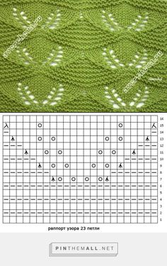 "diy_crafts-♦♦ FREE PATTERN ♦♦ ""Knitting Patterns Stitches Pattern: openwork leaves on a background of garter stitch"" Baby Knitting Patterns, Knitting Stiches, Knitting Charts, Lace Knitting, Knitting Designs, Crochet Stitches, Stitch Patterns, Crochet Patterns, Diy Crafts Knitting"