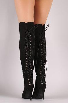 Anne Michelle Suede Back Corset Lace-Up Stiletto Boots