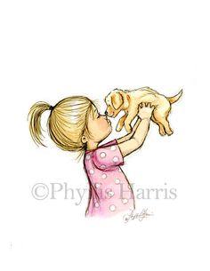 Art de chiot Puppy Love - Girl avec chiot golden retriever-