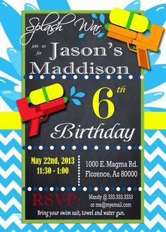 Water Squirt Gun Birthday Party Invitation by Water Birthday, Birthday Name, 6th Birthday Parties, 10th Birthday, Pool Party Invitations, Digital Invitations, Birthday Invitations, Invite, Invitation Wording