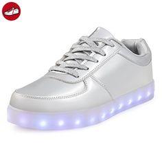 SAGUARO® 7 Colors LED Light Up Shoes USB Charging Luminous Flashing Sneaker Fashion Low Top Glow Sportschuhe for Women Men Kids Boys Girls, Weiß 39