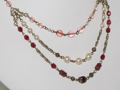Cranberry Rose Three Strand Beaded Necklace  by judysmithdesigns