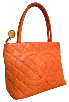 Chanel: Chanel Orange Quilted Caviar Leather Gold Medallion Tote Handbag | MALLERIES