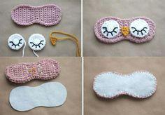 Máscara para dormir, en crochet... (Búho)