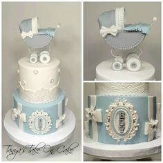 Grey and white baby shower cake. Pram/stroller topper. Lace border, bows & buttons.