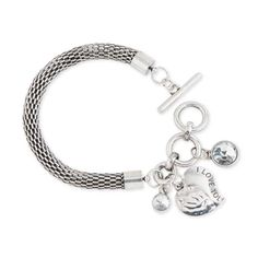 """What's more meaningful than an """"I Love You"""" on this heart charm? Woven Chain Toggle Bracelet with Engraved Heart and Crystal charms.  Come check out our full fashion preview line-up at: https://www.facebook.com/media/set/?set=a.2086218078185584.1073741834.1906314106175983&type=3.  Make sure to """"LIKE"""" our page not to miss a sale!"""