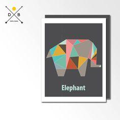Nursery Art Elephant Origami Animals Geometric by DigitalBanana, $5.00