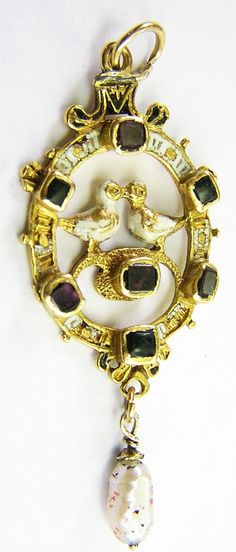 Rare 16th century gold, ruby, emerald, pearl and enameled pendant, c. 1550 AD.