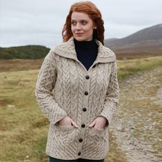 e74998c5593 Irish Hat - Wool Aran Ladies Irish Hat with Peak - White. This hand knit wool  ladies Irish hat combines the traditional Aran cable knit in …