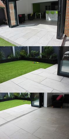 Inside / Outside Contemporary Garden Bi-fold doors Kitchen Vitripiazza Nuvola Italian Vitrified Porcelain Paving Landscaping Patio Back Garden Design, Backyard Garden Design, Backyard Patio, Backyard Landscaping, Rectangle Garden Design, Modern Patio Design, Landscaping Ideas, Garden Tiles, Patio Tiles