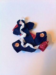 Nautical anchor ribbon sculpture hair clip