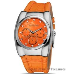 JOAN RIVERS Luxe Sport Croco Embossed Orange Leather Watch NEW IN BOX $39
