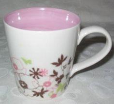 2006 Starbucks Pink Brown Green Poppies Butterflies Mug
